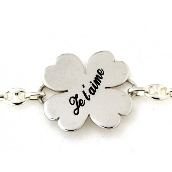 Bracelet porte bonheur en argent avec gravure
