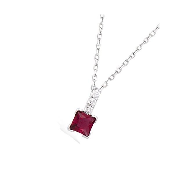Chaîne avec pendentif rubis carrée et oxydes