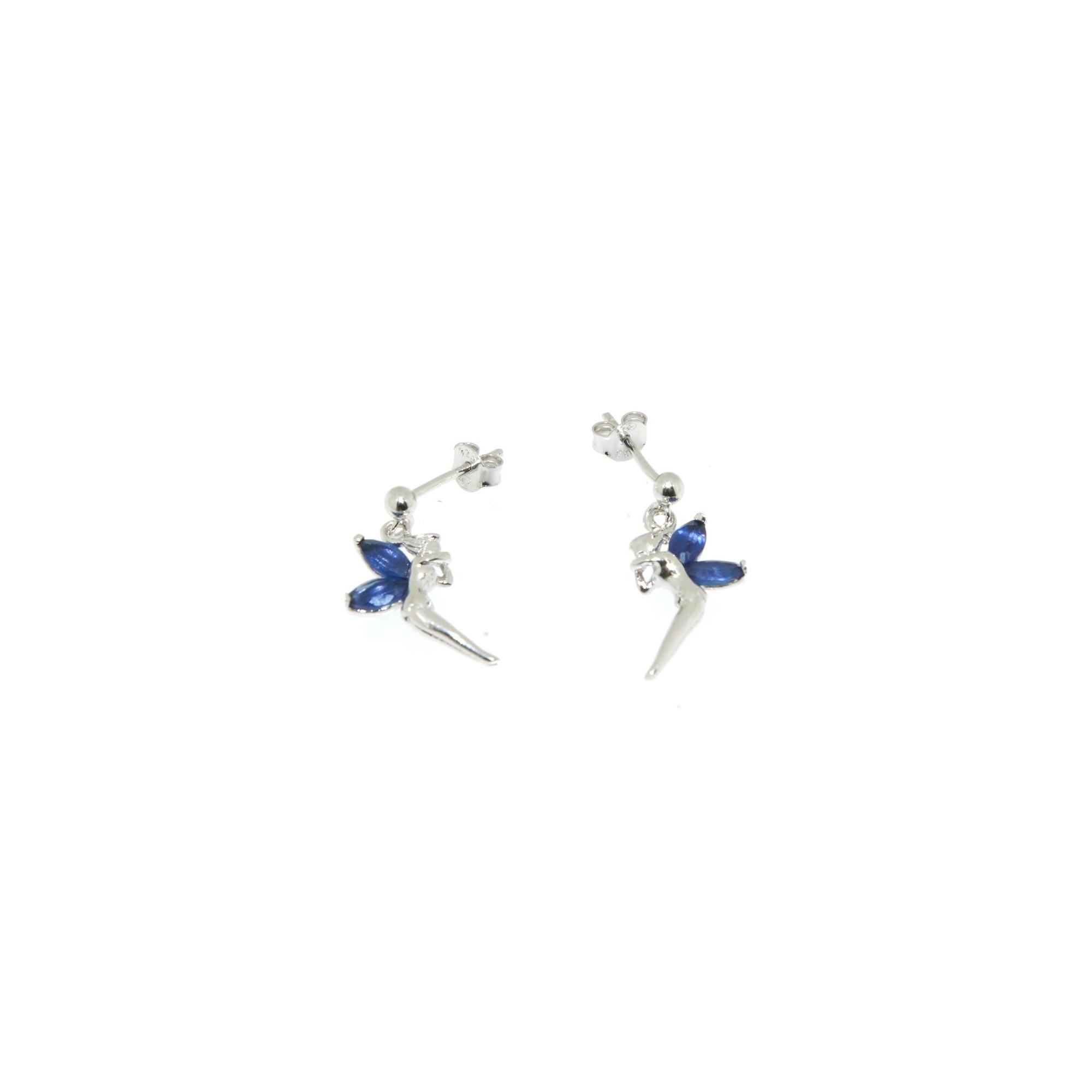 boucle d'oreille argent et bleu