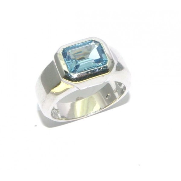 Bague argent 925/1000e  pierre bleue synthétique 7grs