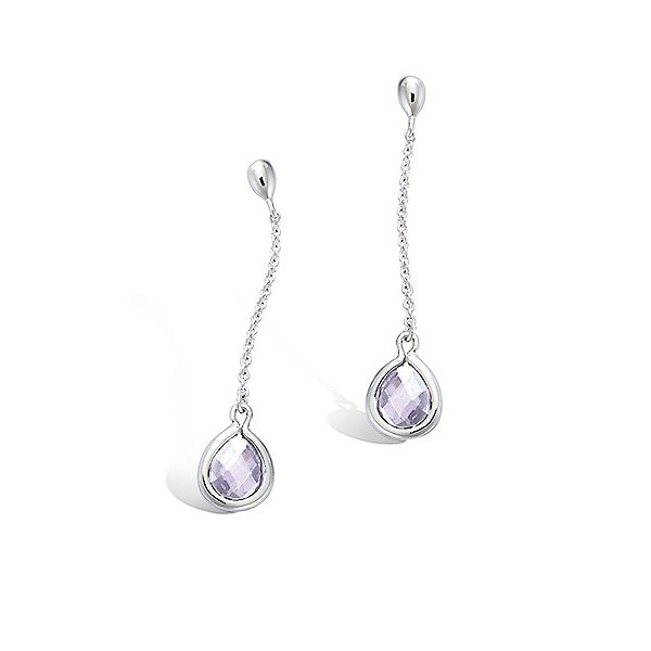 Boucles d'oreilles pendantes argent avec oxyde lavande
