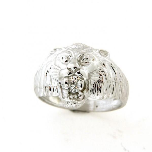 Chevalière argent tête de lion avec oxyde (petit modèle)
