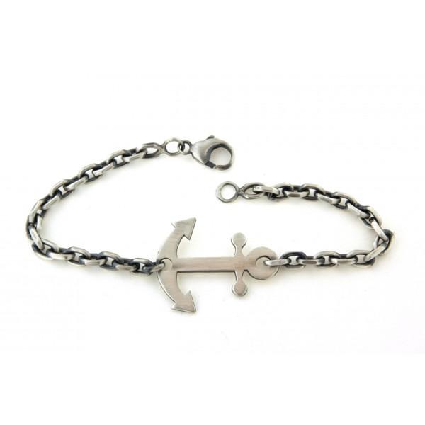 Bracelet argent maille forcat avec ancre marine