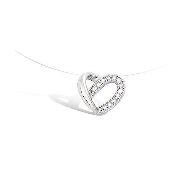 Collier fil nylon avec coeur oxyde argent