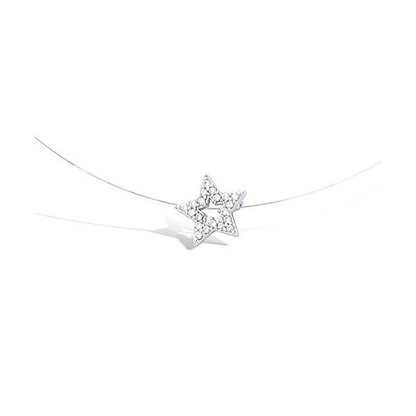 Collier argent fil de nylon étoile