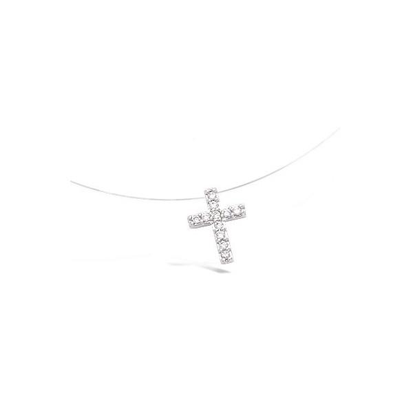 Collier argent fil nylon petite croix