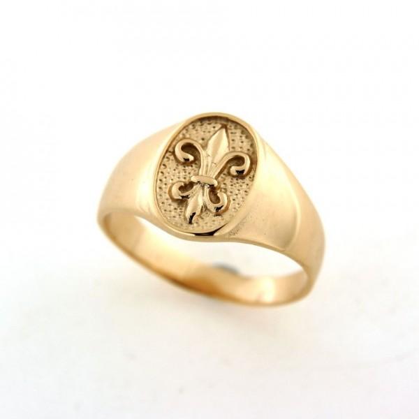 Chevalière fleur de lys en plaqué or