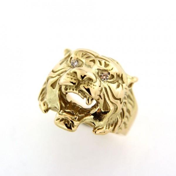 Chevalière lion avec oxydes en plaqué or