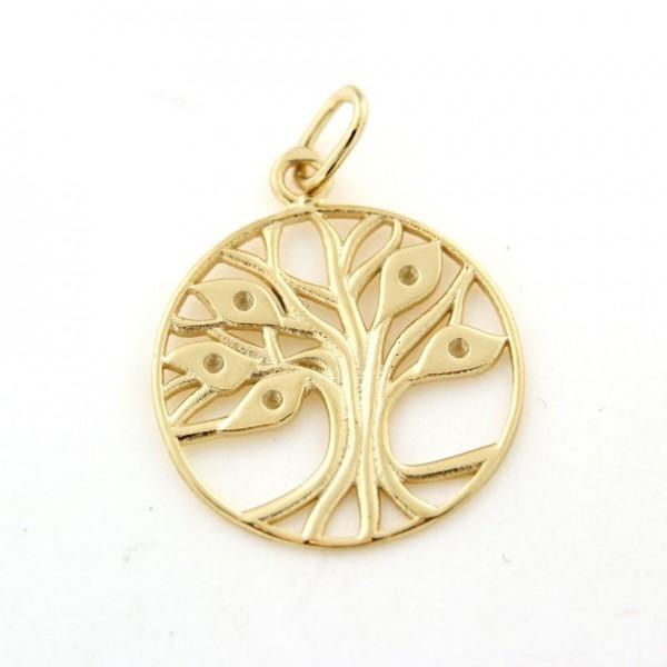 Pendentif arbre de vie en plaqué or