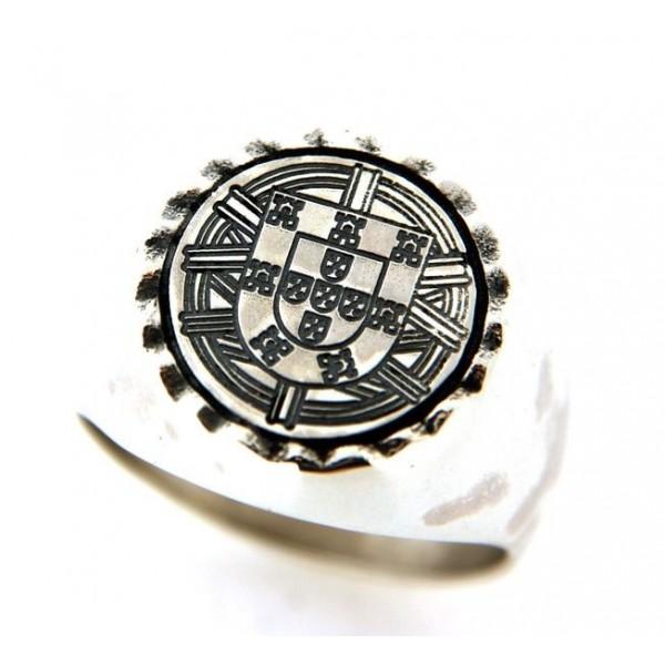 Chevalière ronde avec symbole Portugais