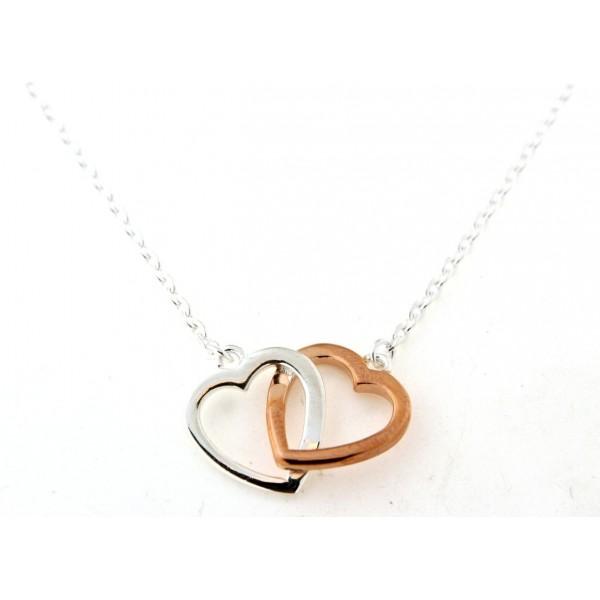 Collier en argent cœurs bicolores