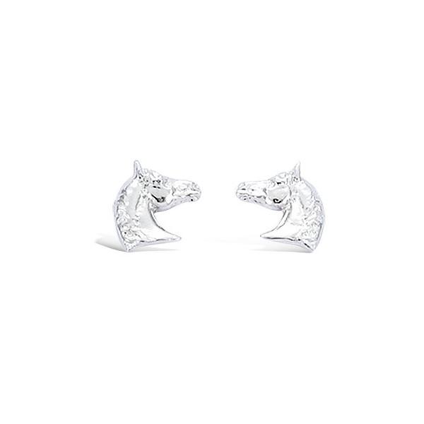 Boucles d'oreilles tête de cheval en argent