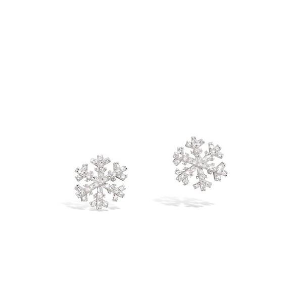 Boucles d'oreilles flocon de neige avec oxydes