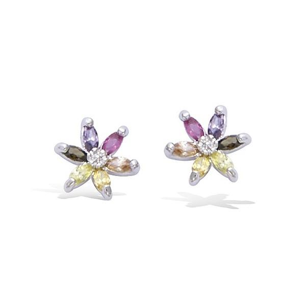 Boucles d'oreilles fleurs multicolores