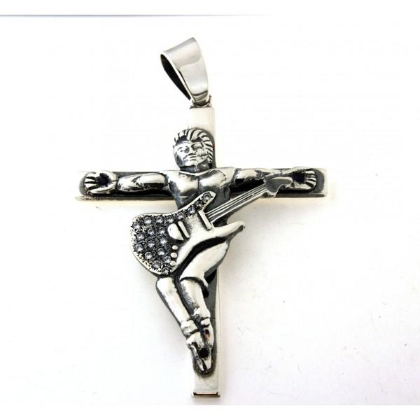 Croix argent massif avec motif guitariste vieilli