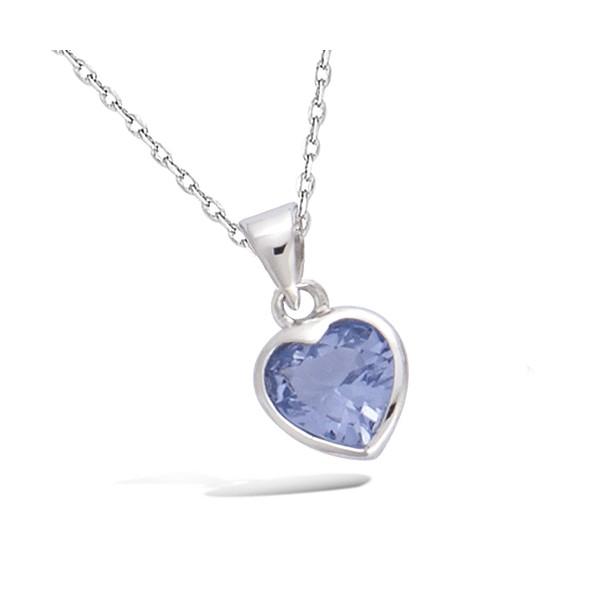 Pendentif cœur bleu -violine