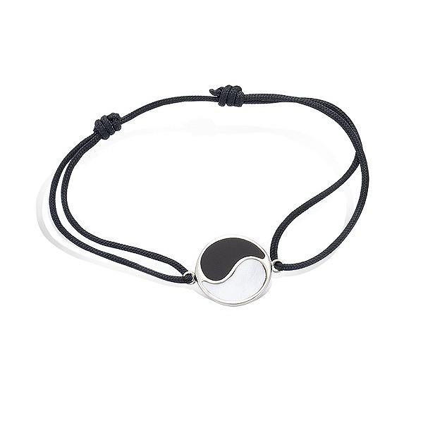 Bracelet ying yang en argent avec cordon noir