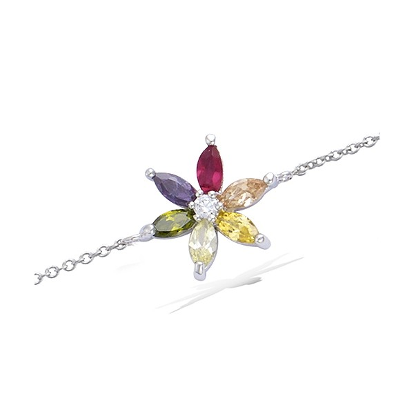 Bracelet fleur multicolore en argent