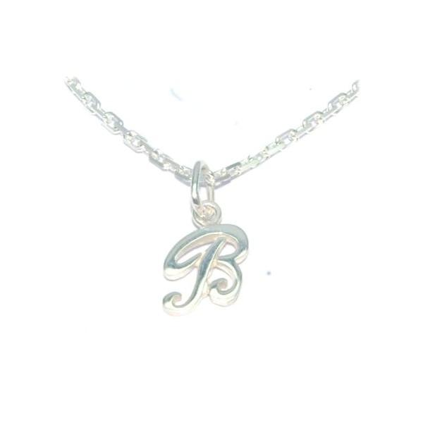Pendentif initiale B avec chaine forcat en argent