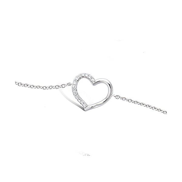 Bracelet coeur demi serti  en argent