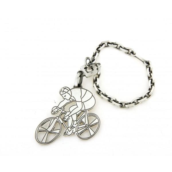 Porte clés cycliste en argent
