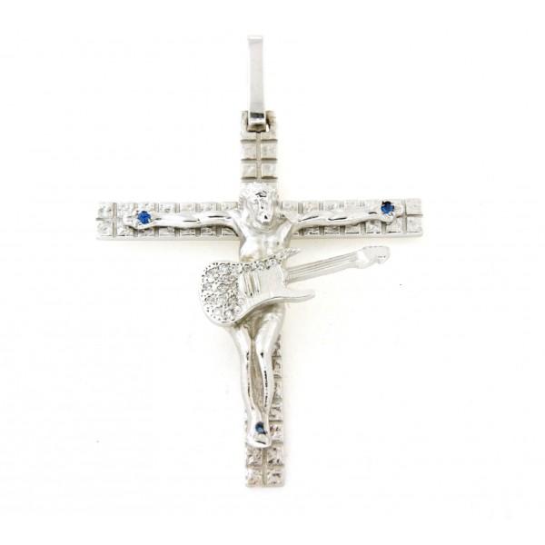Croix argent massif 6cm avec christ guitariste