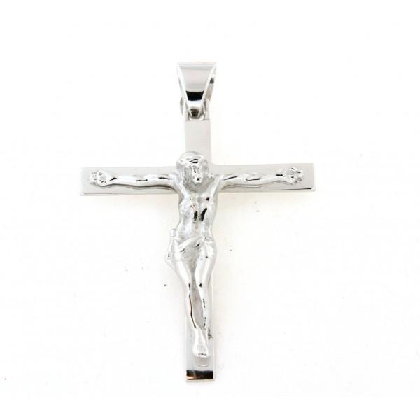 Croix argent massif avec christ