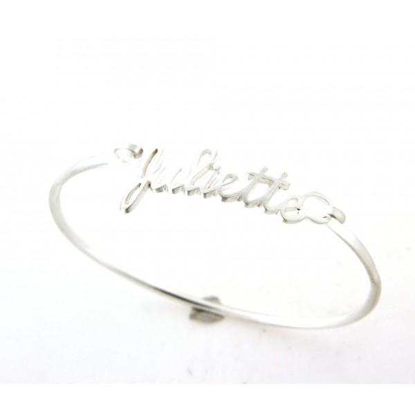 Bracelet argent rigide avec prénom