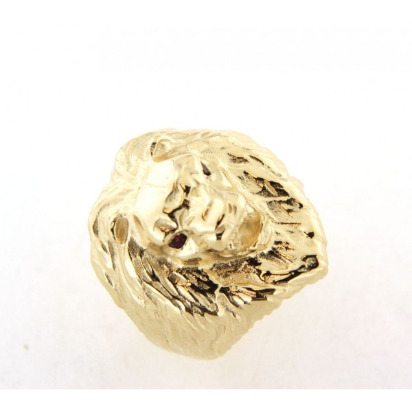 Chevalière tete de lion crinière en plaqué or