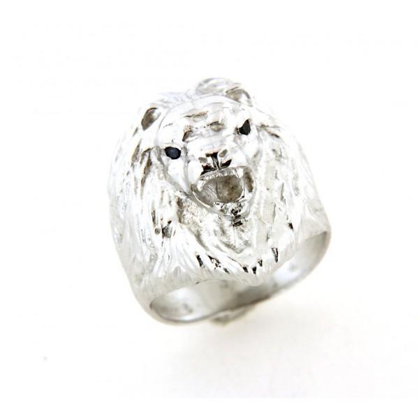 Chevalière tete de lion crinière en argent