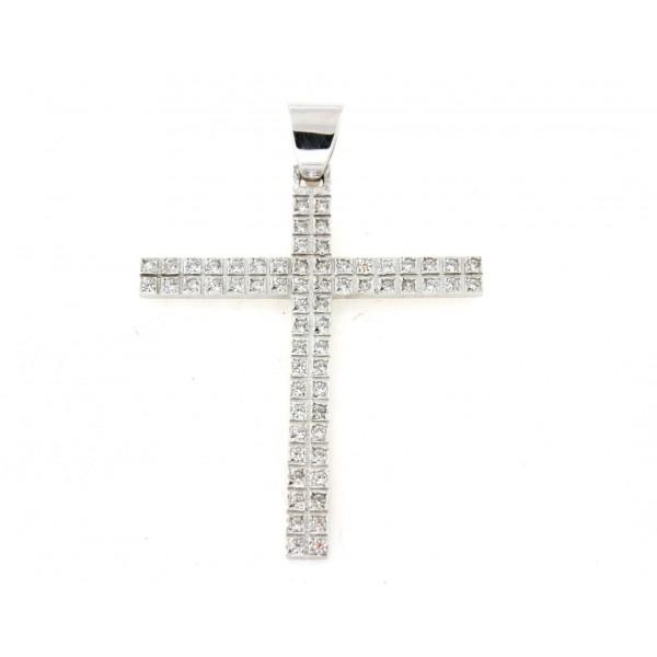 Croix serti d'oxydes en argent