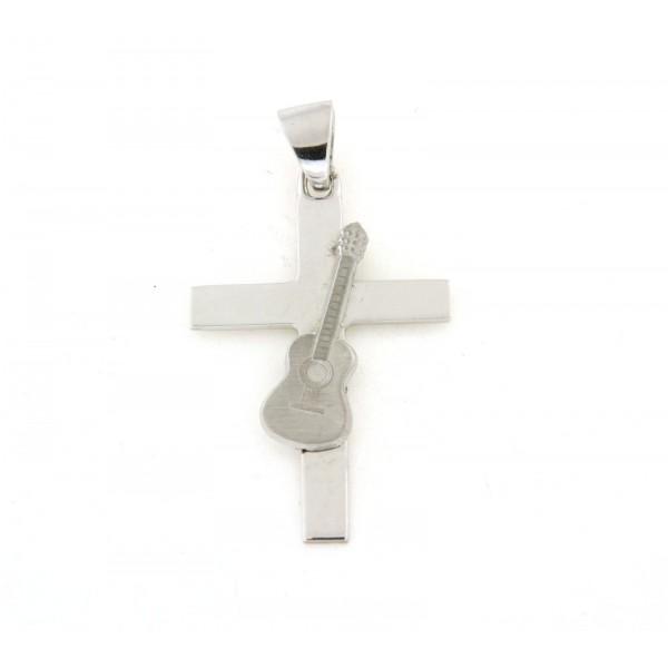 Pendentif croix avec guitare en argent