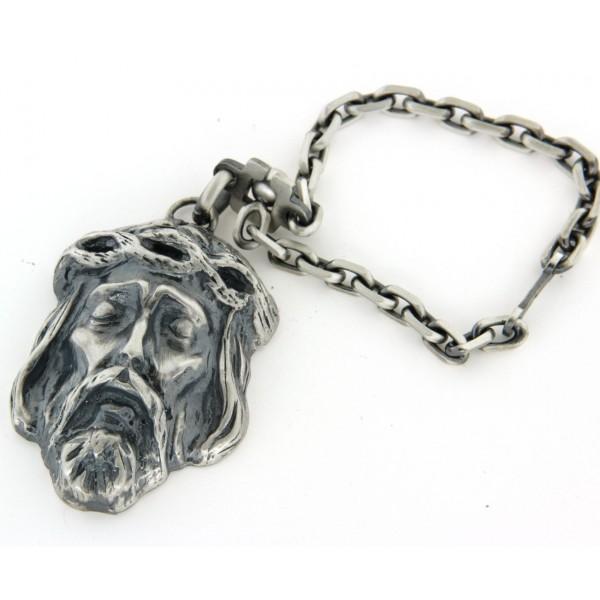 Porte clés tete de Christ en argent
