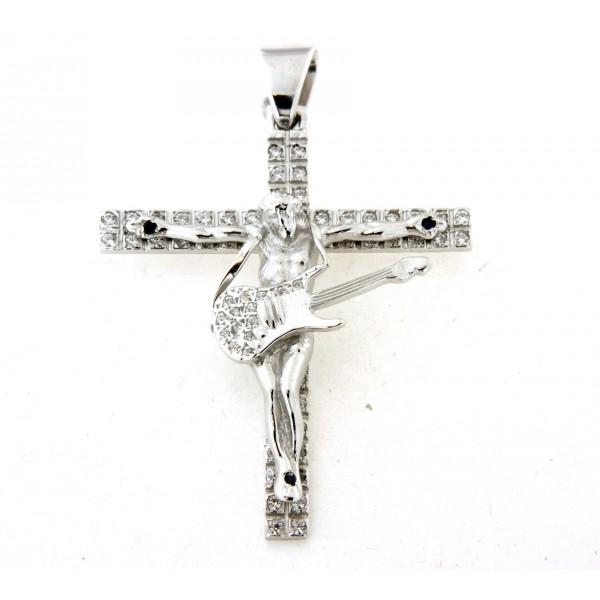 Croix argent massif 6cm avec oxydes motif christ guitariste