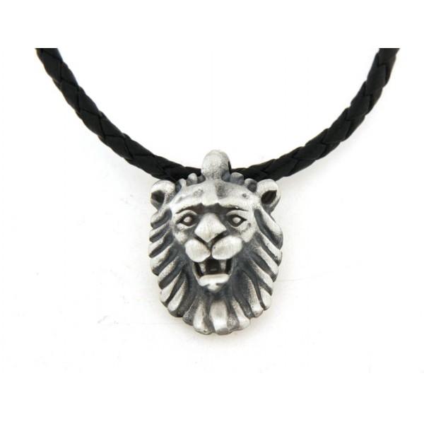 Pendentif argent lion avec collier cuir 50cm