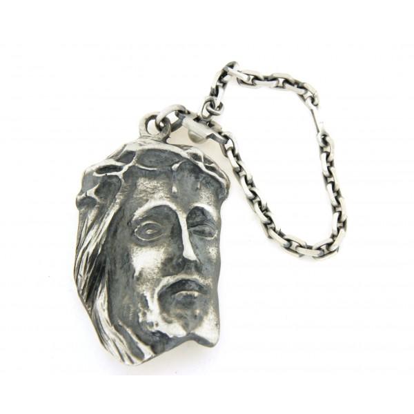 Porte clés christ en argent vieilli