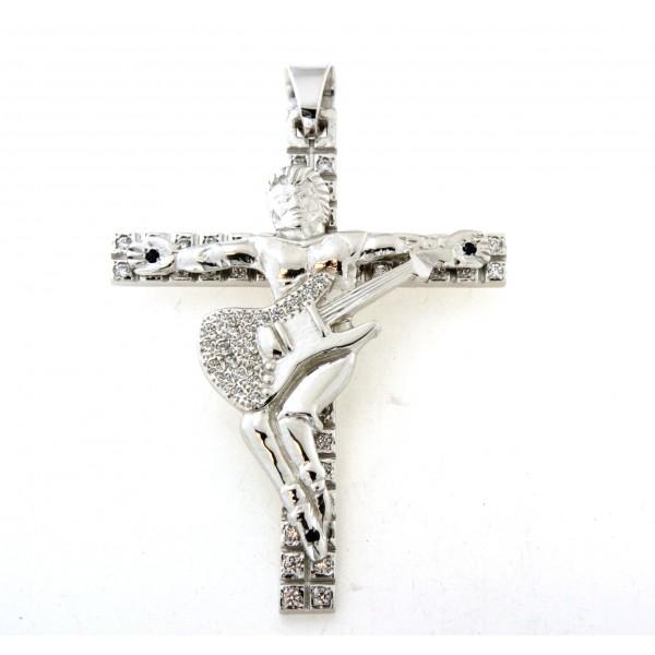 Croix argent massif 8cm  avec motif guitariste