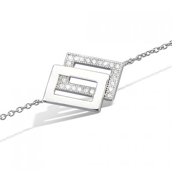 Bracelet rectangles superposés en argent