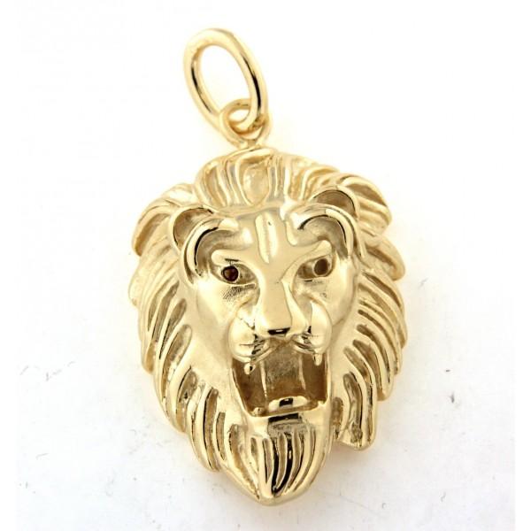 Pendentif tete de lion en plaqué or