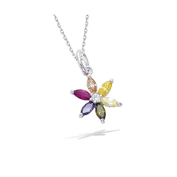 Pendentif fleur multicolore en argent