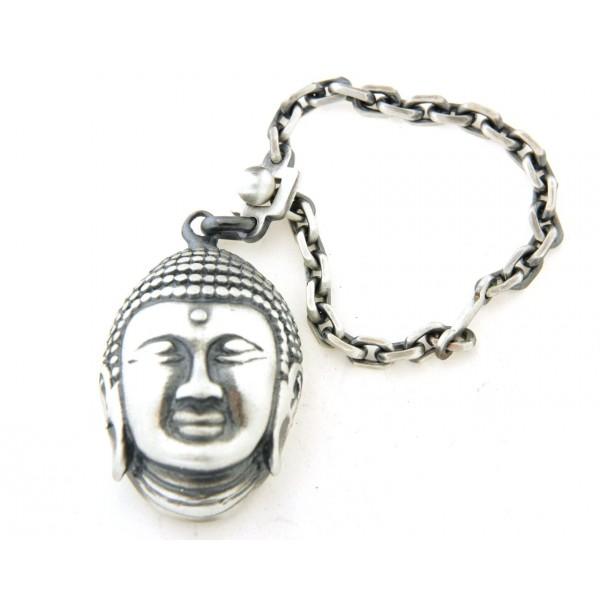 Porte clés argent vieilli bouddha