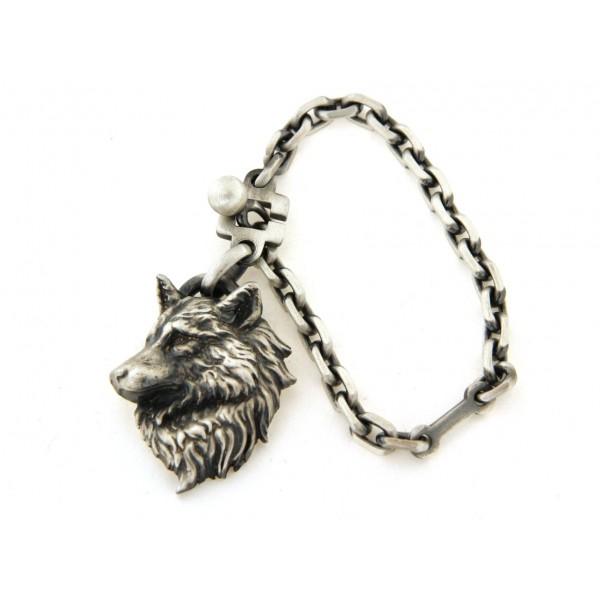 Porte clés argent vieilli loup
