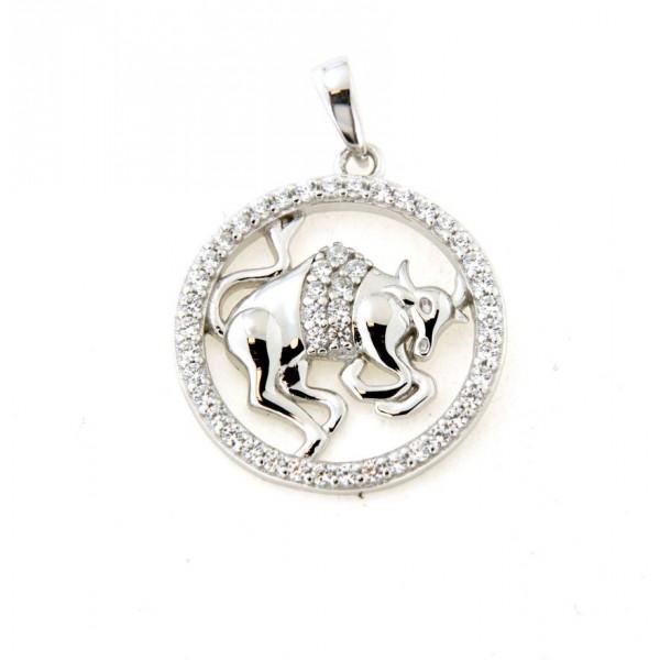 Pendentif taureau en argent avec oxydes