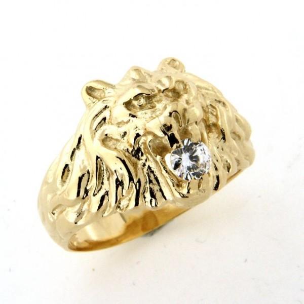 Chevalière lion avec diamant en or