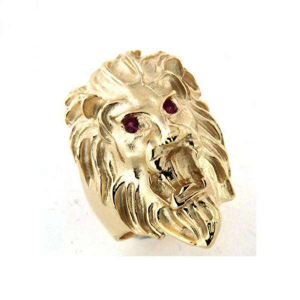 Chevalière grosse tete de lion en or