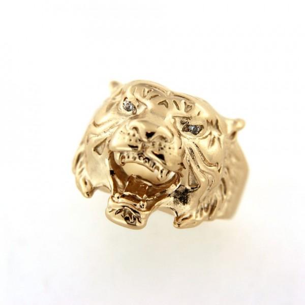Chevalière tigre en or avec diamants