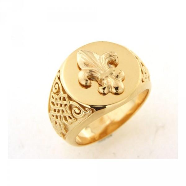 Chevalière fleur de lys en or