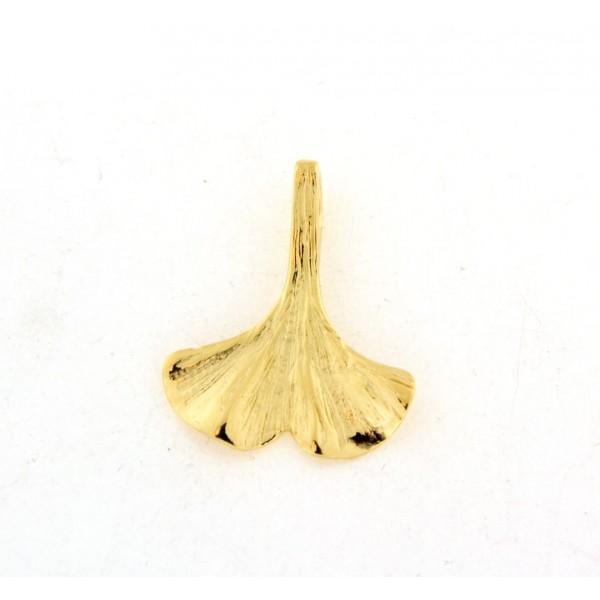 Pendentif plaqué or feuille de ginkgo