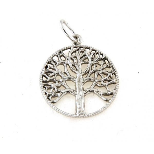 Pendentif argent rhodié arbre de vie