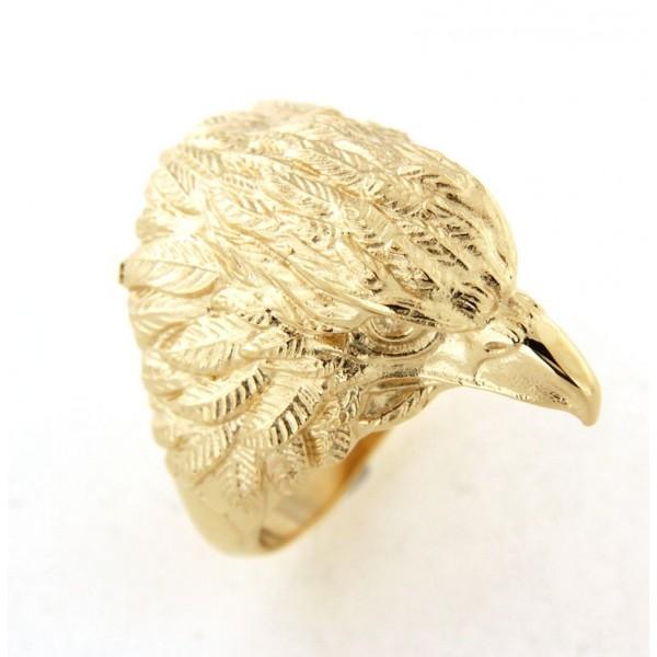 chevalière plaqué or aigle